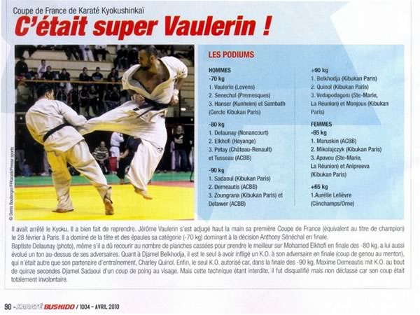 Article sur la Coupe de France Kyokushinkai 2010 à Paris